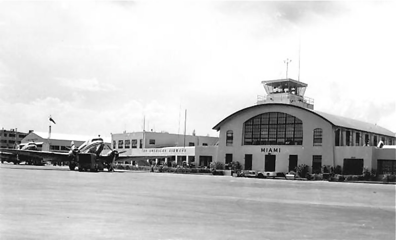 Two Pan American DC-3s seen here at the 36th Street Airport in Miami in the 1940s. Pan American built this original airfield named after itself in 1928. It later became the 36th Street Airport in the mid 1930. In addition to the surrounding land, the airport was then purchased from Pan American by the city of Miami to create The Miami International Airport.