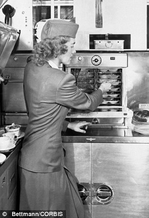 Betty Riegel in Galley of DC-4