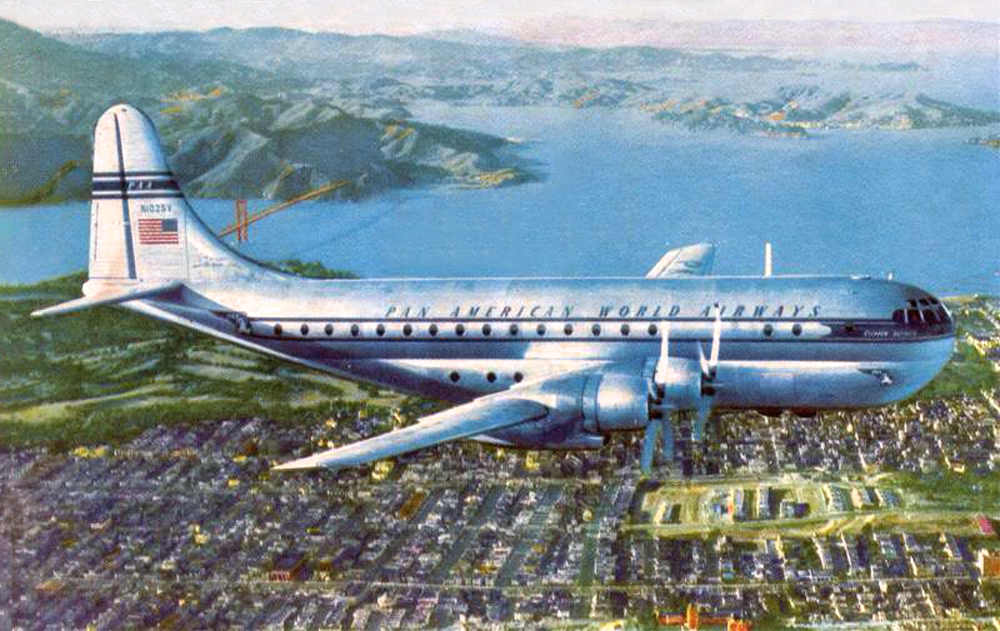 "Pan American was the first airline to operate the B-377 Stratocruiser, referred to as the ""Guppy.""  The inaugural flight was on April 1, 1949 (the same year Lynn began flying) from San Francisco to Honolulu. Five cabin attendants worked on the Stratocruiser and it flew about 300 miles per hour at 25,000 feet. Flying time to Honolulu was 8.5 hours rather than 12 on other aircraft."