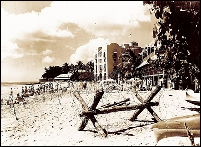 During the war the beach at the Royal Hawaiian hotel was ringed with barbed wire.