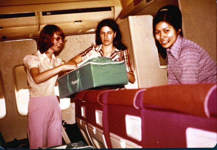 Joyce, Lisa, Edwina setting up on way to Saigon