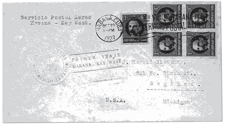 Cover from the first scheduled flight Key West to Havana October 28, 1927