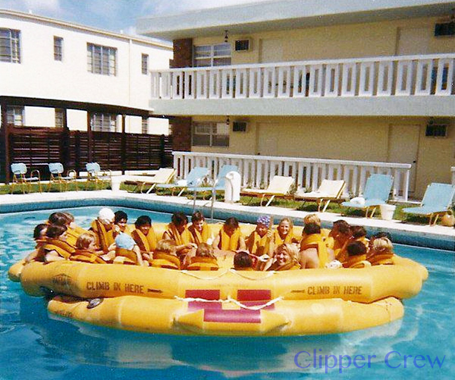 Trainees learn life raft and survival equipment procedures at the Miami Airways Motel pool. (Photo courtesy of Joy Losee)