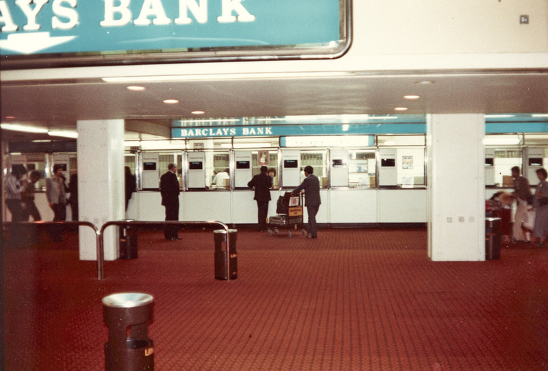 Barclays Bank Terminal 3 at London Heathrow Airport 1970s. Pan Am's In-flight Service Dept. was a short distance away making it convenient for cabin crew to do their banking.