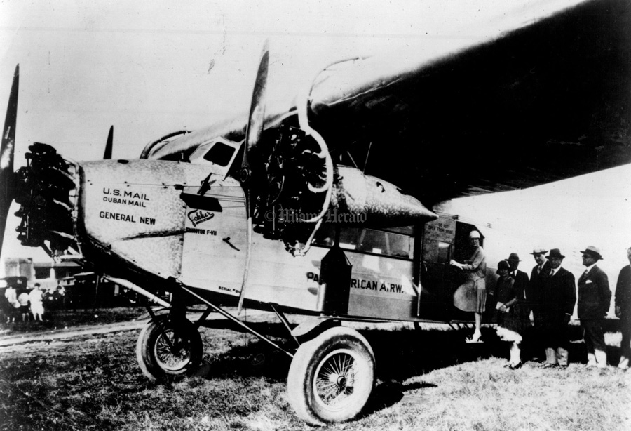 The eight-passenger Fokker F-7 inaugurated Pan Am's first scheduled passenger flight from Key West, Florida, to Havana, Cuba, on January 16, 1928. The three-engine plane made the 90-mile trip in about an hour, opening a network that later extended throughout the Caribbean to South America, across the Pacific and, finally the Atlantic.