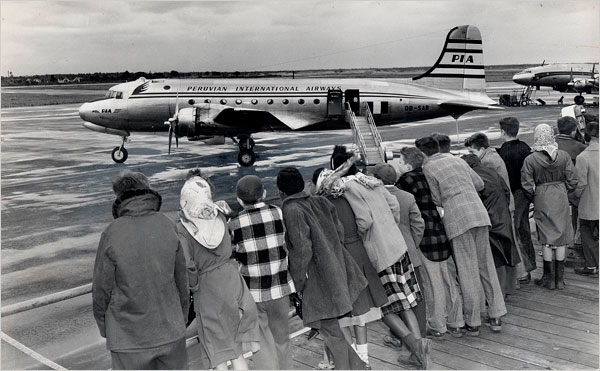 NY Times Photo of PIA airplane at Idlewild Airport, Long Island, New York 1948.