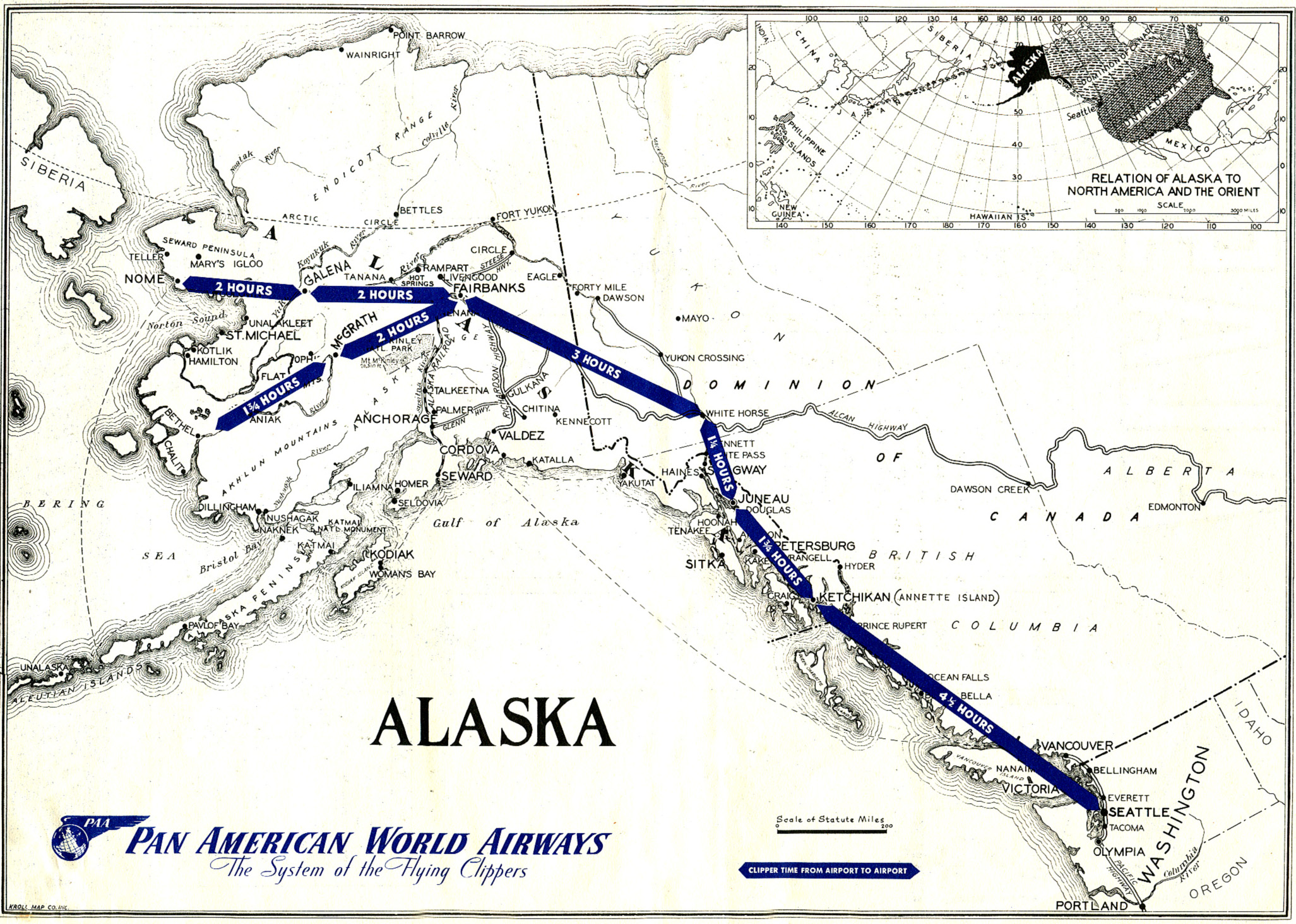 1946 Pan Am Alaskan Route Map. Image courtesy of Claude Hudspeth/Clipper Crew Collection.