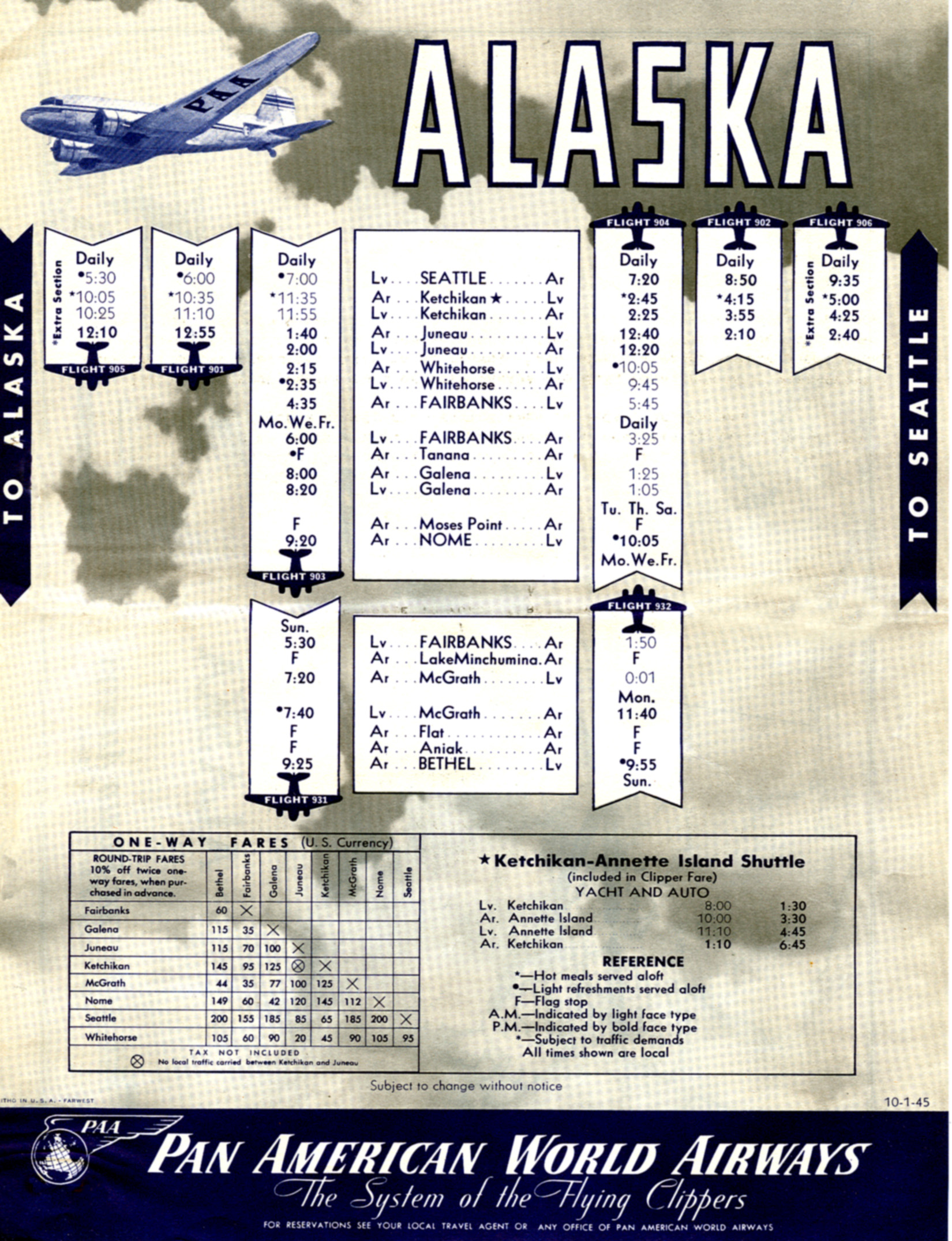 1946 Pan Am Alaskan Time Table courtesy of Claude Hudspeth/Clipper Crew Collection.