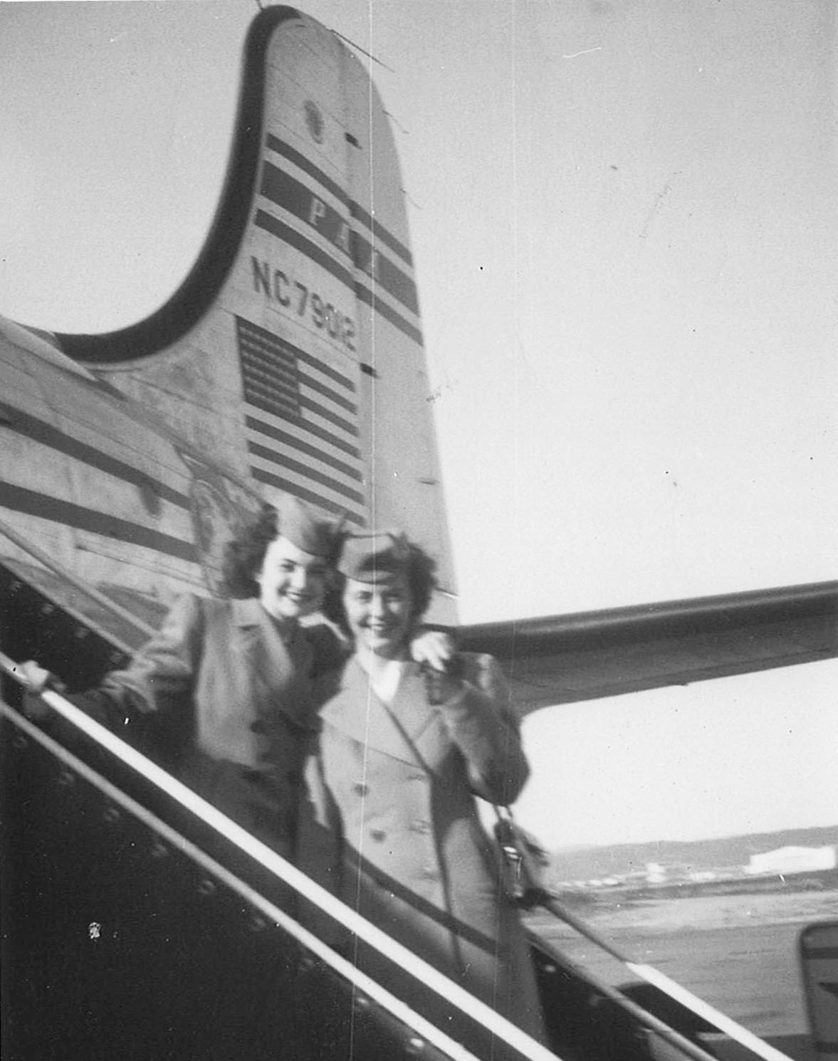 Boeing Field Airport, Seattle, 1946. Madeline and a fellow stewardess.