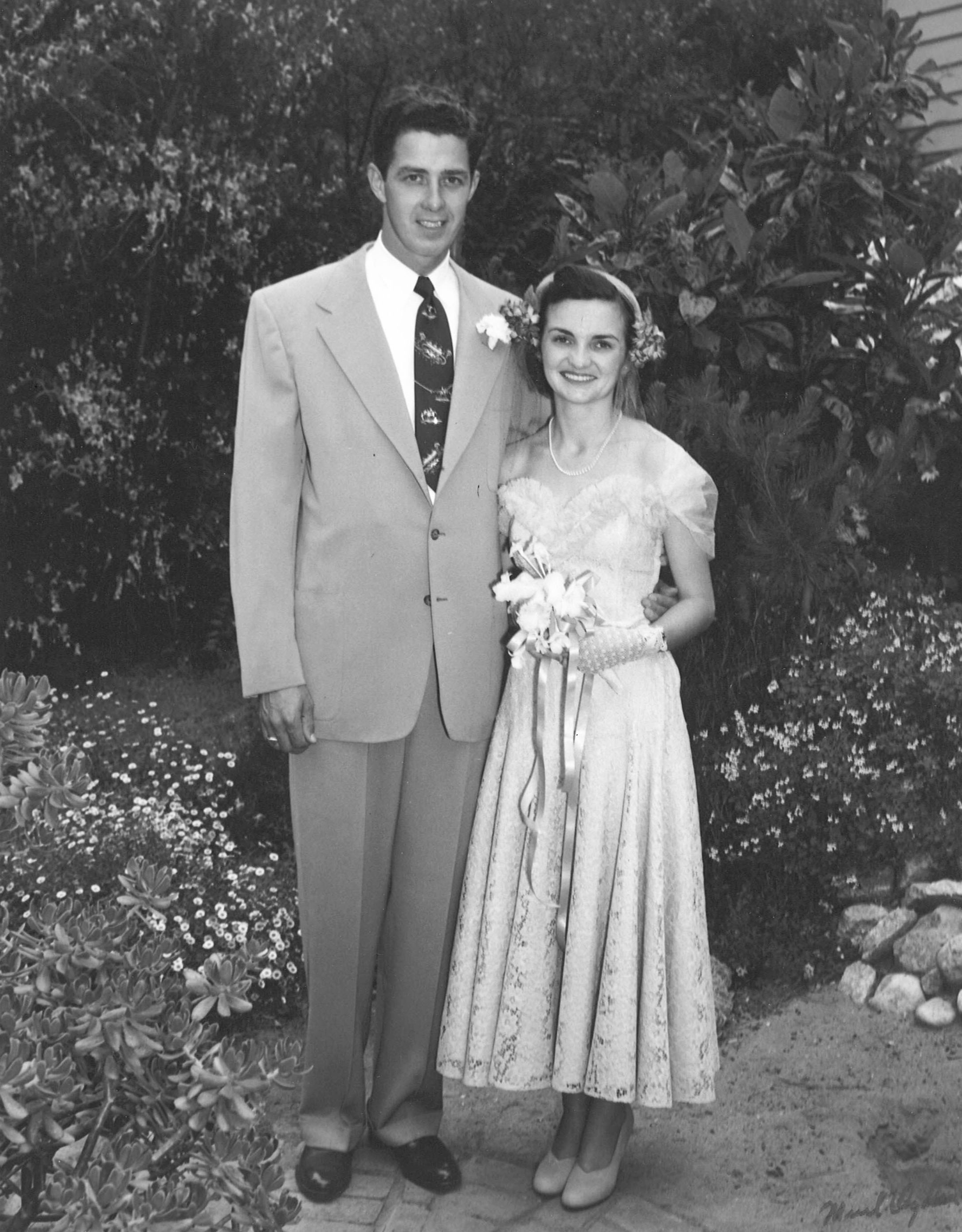 Wedding in Carmel, California, 4 June 1951. Image courtesy of Madeline Smith to Clipper Crew.